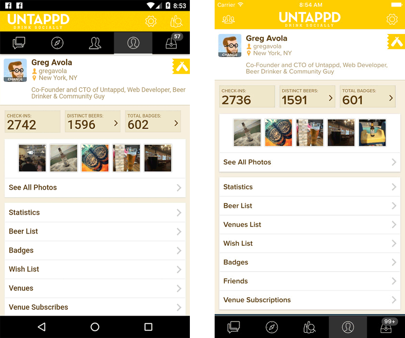 Untappd app screenshots Progressive web apps, App, App