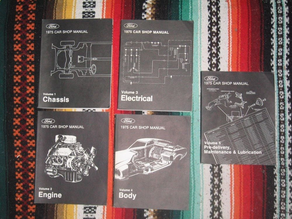 Ford 1975 Car Shop Manuals, Vol 1 - 5, First Printing