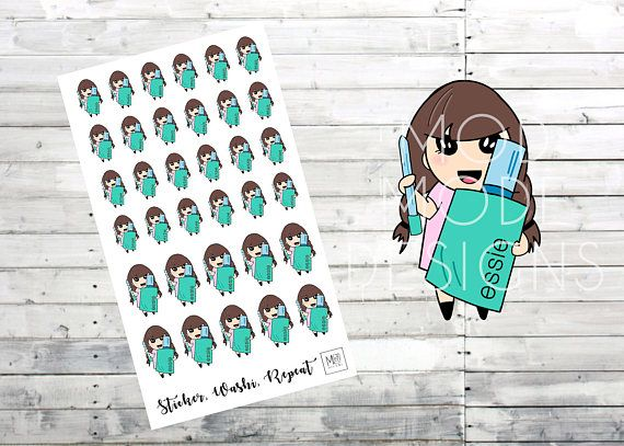 Olive Nail Appointment Planner Stickers, hand drawn planner - appointment planner