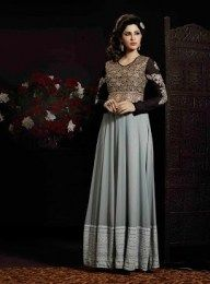 Gorgeous Grey Color Long Anarkali Suit With Beautiful & Perfect Hand Embroidery Work