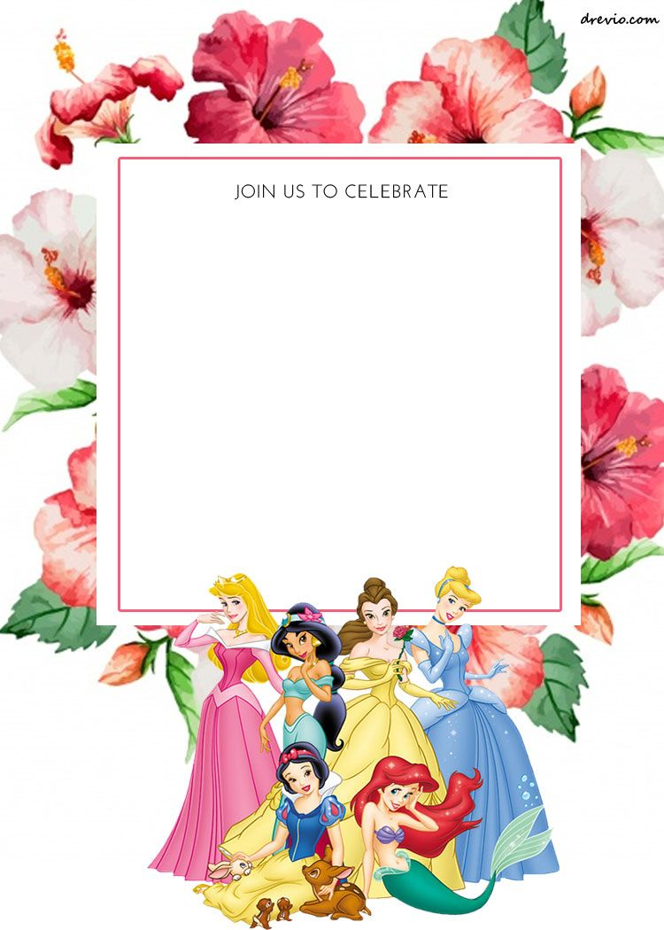 FREE Printable Disney Princess Floral Invitation Template | Pinterest