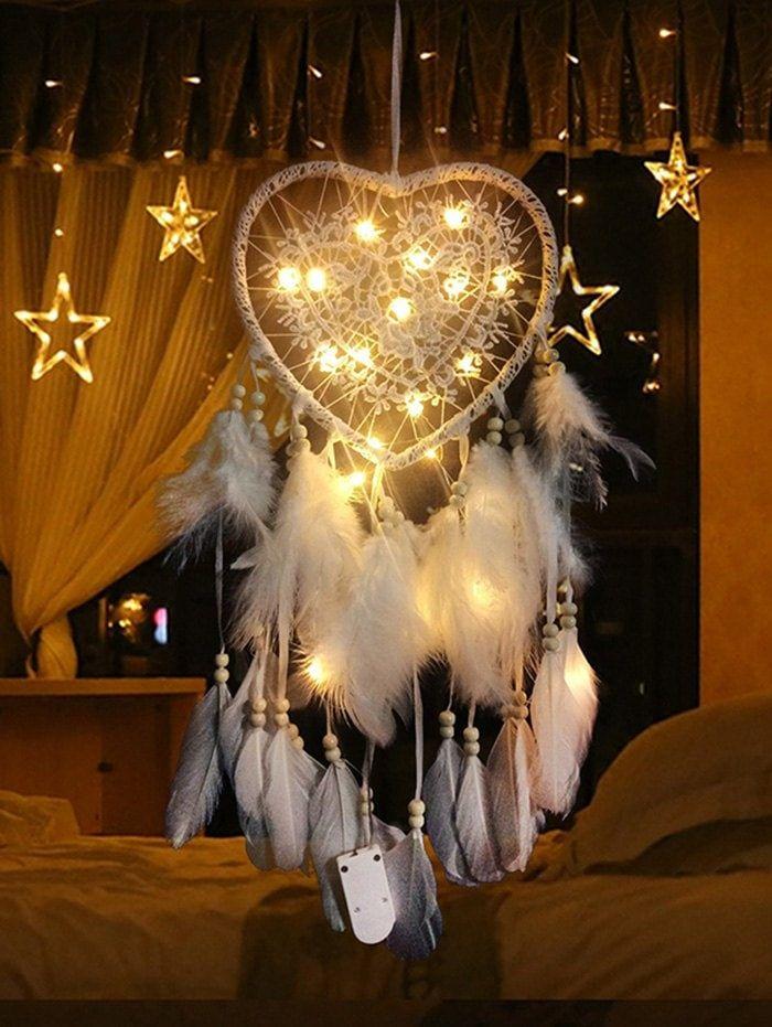 Photo of LED Light Handmade Heart Shape Feather Dream Catcher