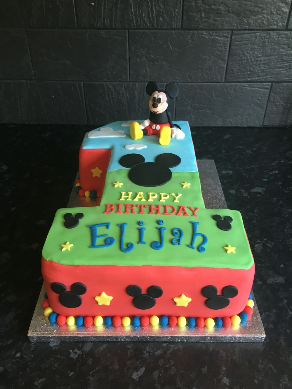 Mickey Mouse Number 1 Birthday Cake First Birthday Mickey Birthday