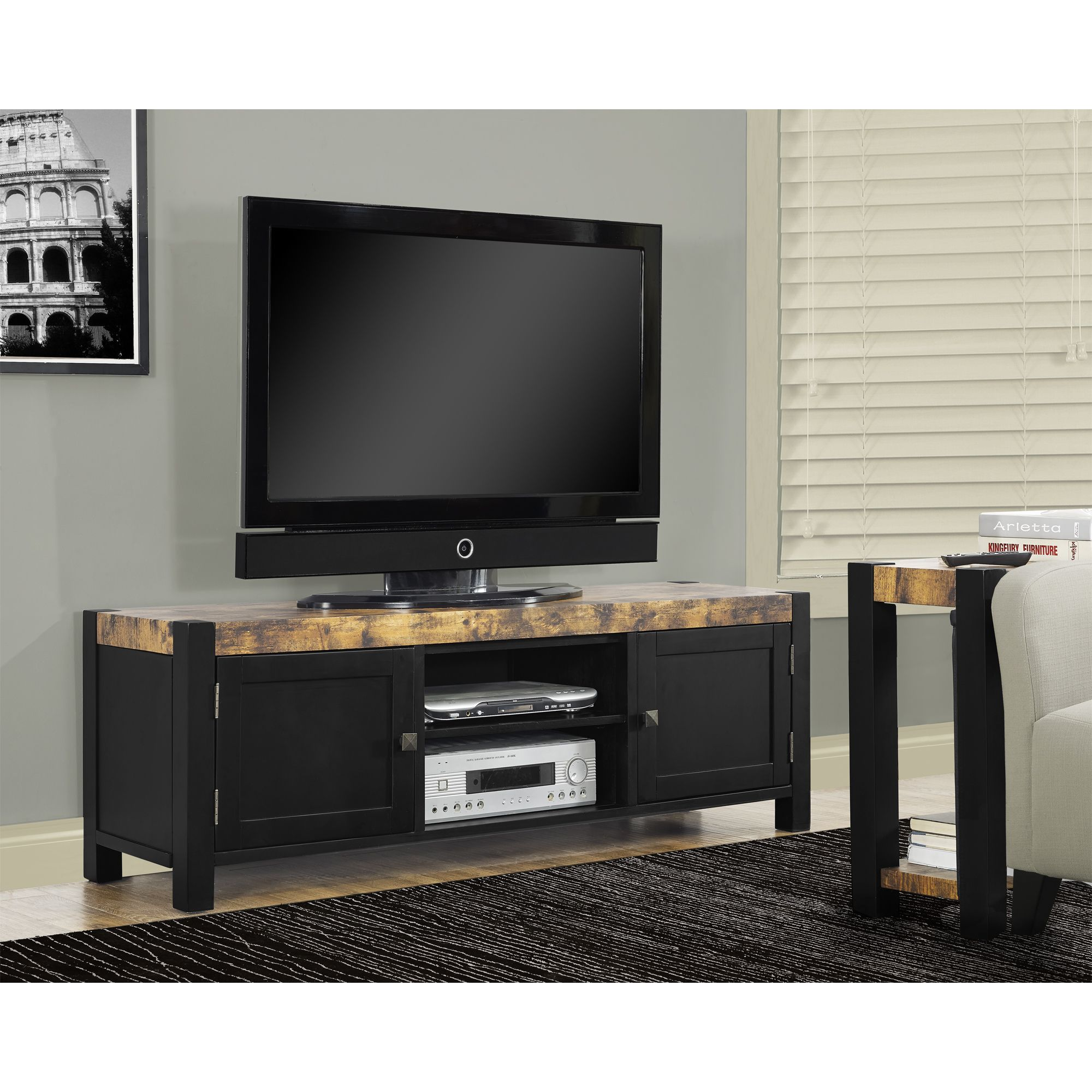 Upgrade Your Living Space With This 60 Inch TV Console Finished In A  Distressed Reclaimed