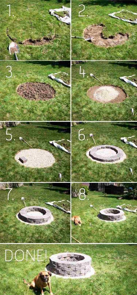 Anleitung zum Bau einer Feuerstelle im Garten mit Steinziegeln - grillstelle im garten