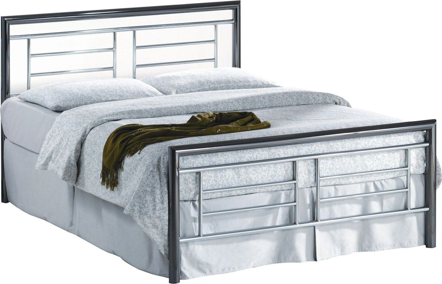 135cm Double Size Montana Modern Chrome and Nickel Frame Bed: Amazon ...
