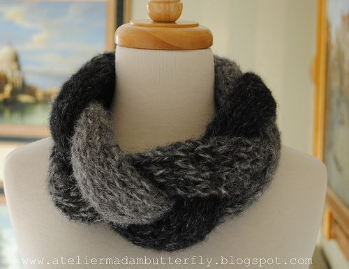 Ravelry: Gray braided cowl pattern by Lidia Tsymbal