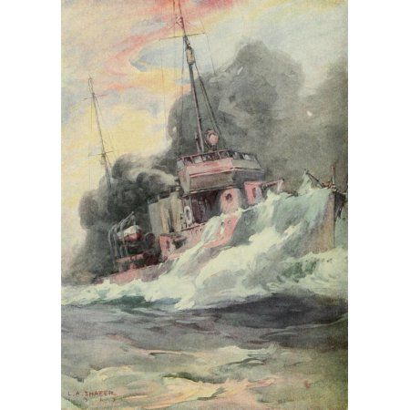 Nations at War 1917 US Destroyer starting a smokescreen Canvas Art - LA Shafer (24 x 36)