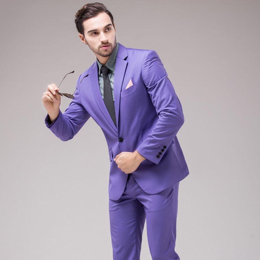 2016 Handsome Slim Fit Men Suits Light Purple Tuxedos Blazer ...