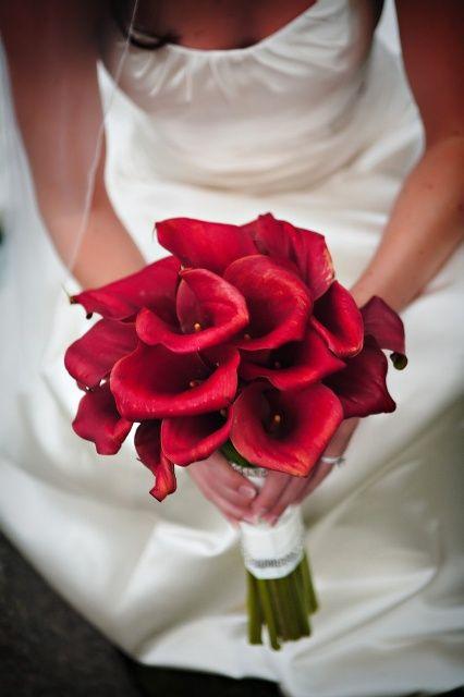 Calas rojos Ramos de novia Pinterest