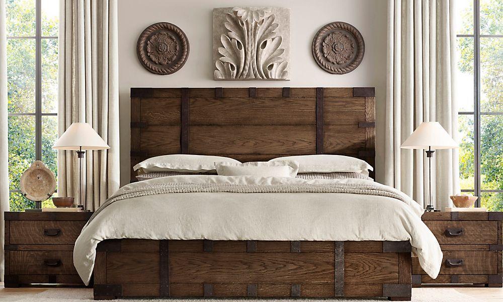 restoration hardware  bedroom furniture sets brown