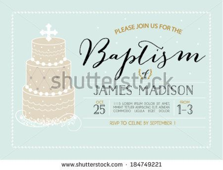 baptism invitation template with cake by pixejoo via shutterstock
