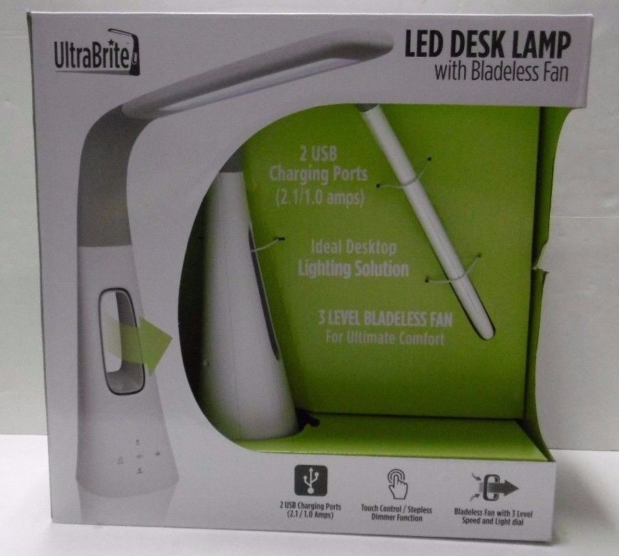 Ultrabrite Led Desk Lamp New Ultrabrite Led Desk Lamp With Bladeless Fan 2 Usb Ports Touch Decorating Design