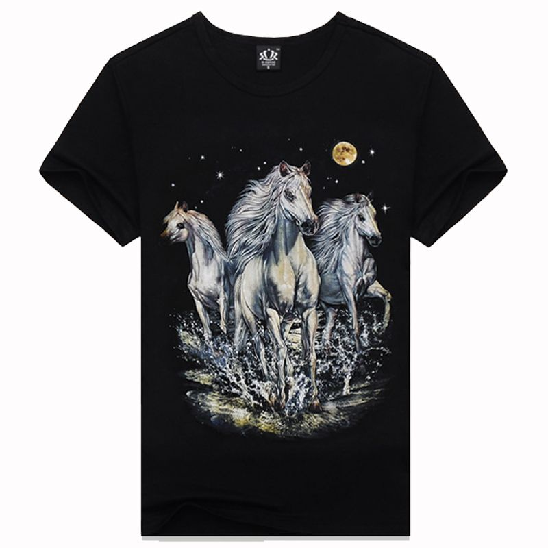 2015 New hot os homens camiseta 3D verão rua moda casual o pescoço camisetas 3D tailândia projeto 3D t shirts cavalo europa camisetas