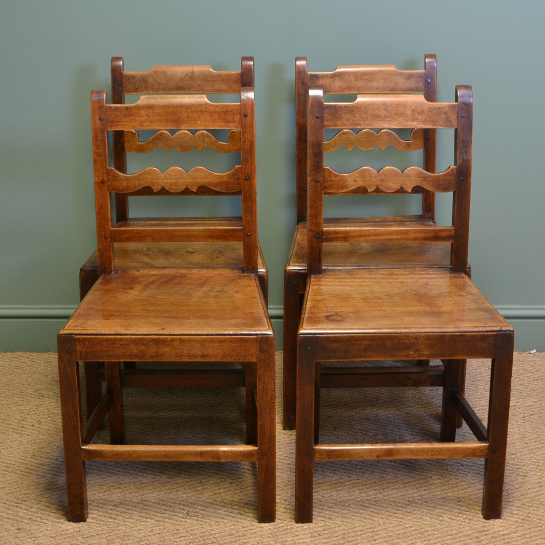Set of Four Country Farmhouse Georgian Antique Kitchen Chairs - Antique Georgian Chairs Antique Chairs Pinterest Antiques