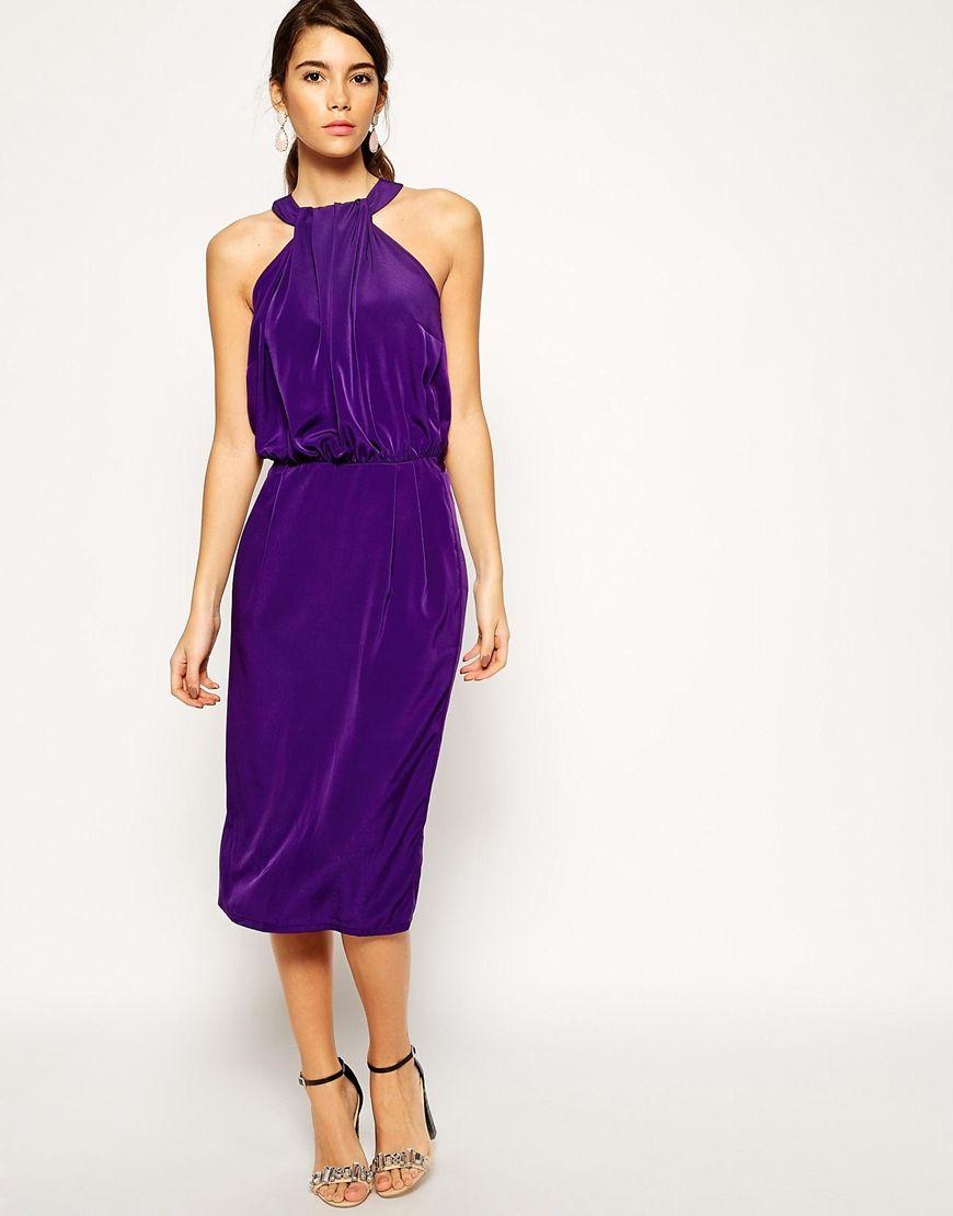 Image 1 of ASOS Halter Neck Midi Pencil Dress | Window Shopping ...