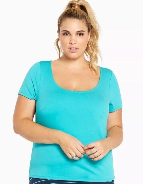 Torrid 3 Plus Size Turquoise Ponte Keyhole Back Shirt Blouse   | eBay