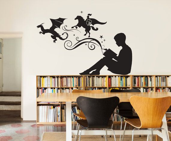 Boy Reading Magic Book Wall Decal Vinyl Art Stickers For Homes