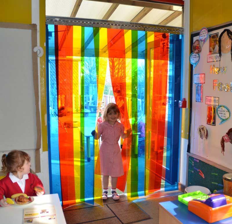 Rainbow Coloured Pvc Strip Door Suitable For Single Doorway