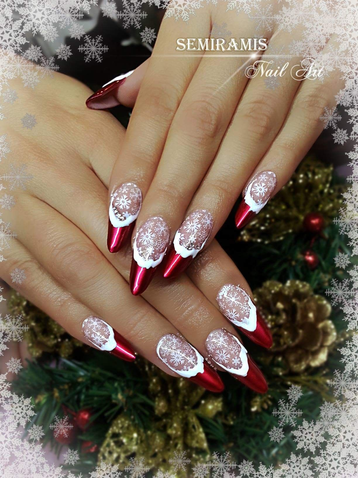 Christmas nails, french nails, red chrome gel polish, white nail ...