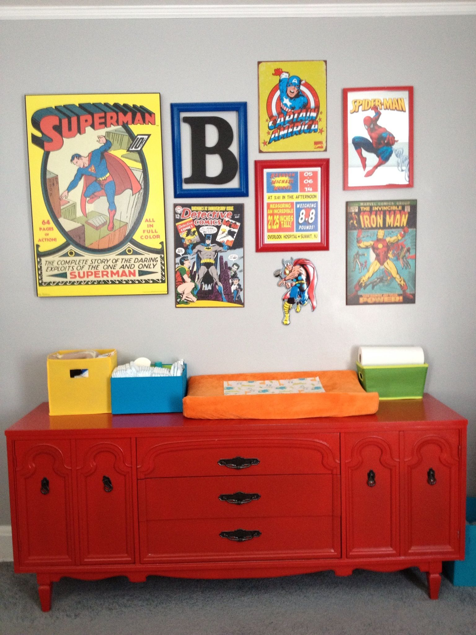 Superhero Nursery Superhero Collage Baby Boy Red Changing Table From Hand Painted Vintage Furniture Boy Room Red Boy Nursery Themes Baby Boy Nursery Themes