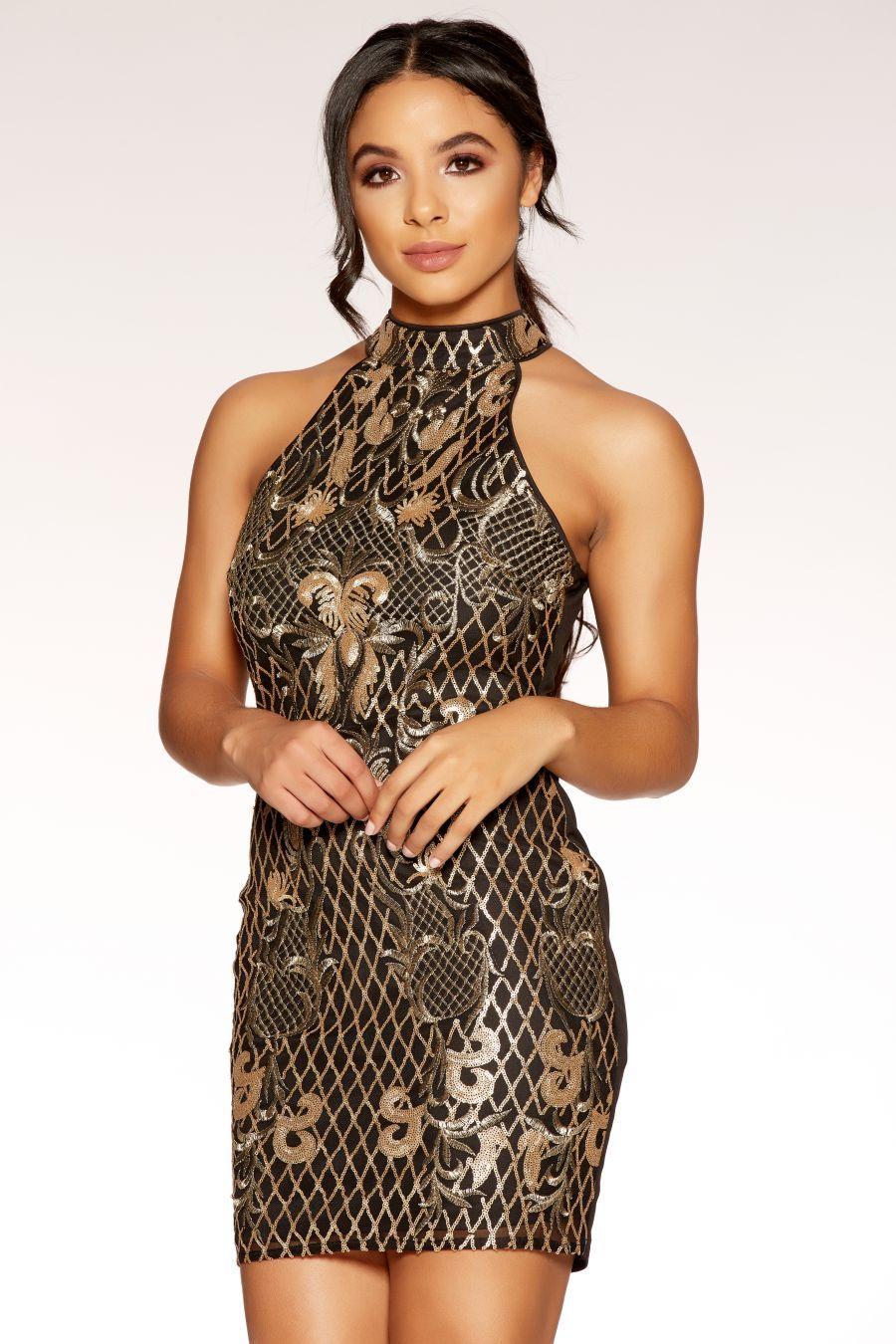 f06074654cadb Black And Gold Sequins Turtle Neck Mini Dress