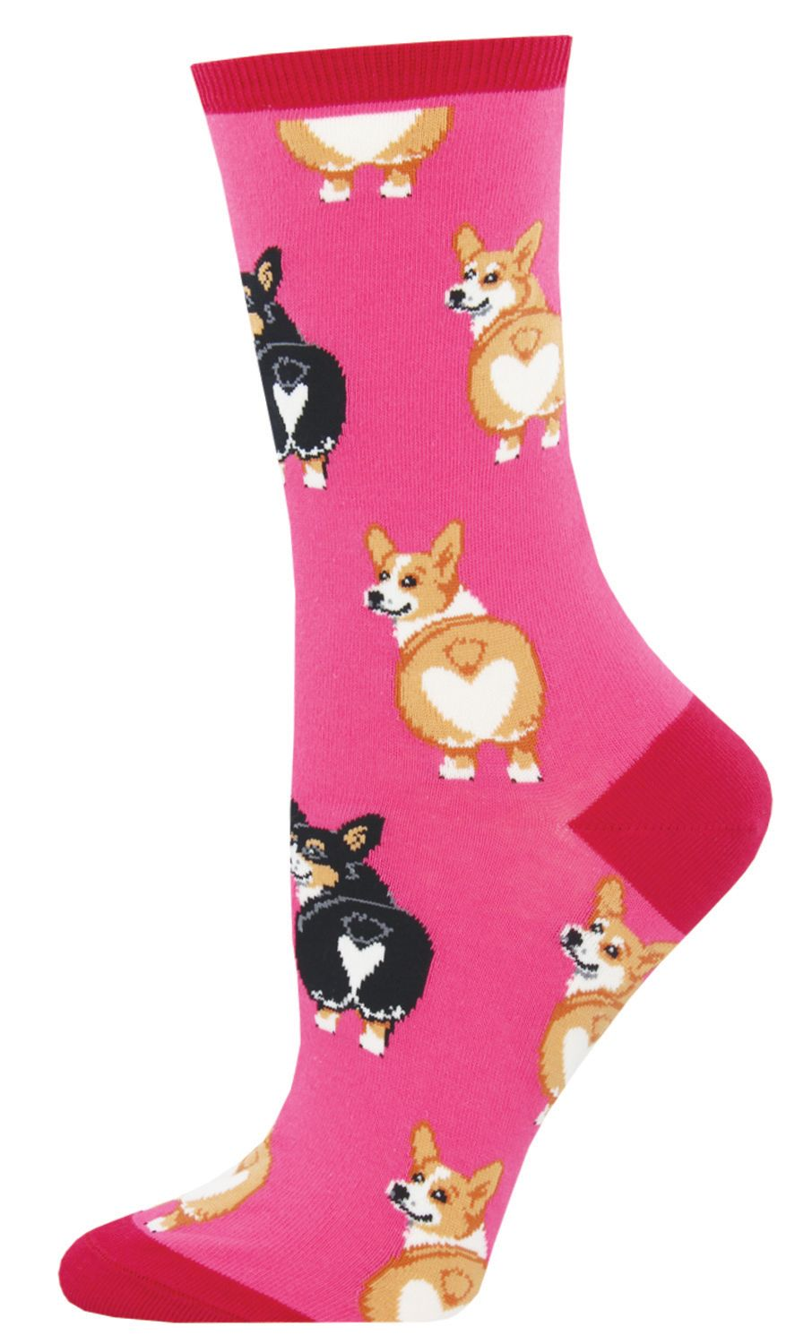 Socksmith Womens Crew Socks Corgi Dog Cotton Blend Black Novelty Footwear New