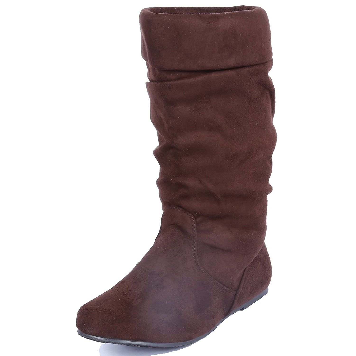 Women's Fashion Cozy Suede PU Fold Over Mid Calf Slouch Boots