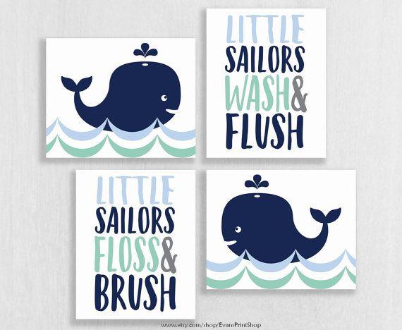Charmant Whale Bathroom Art Prints Set Of 4   Whale Bathroom Decor   Whale Watch    Washu2026