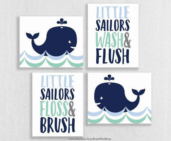 Whale Bathroom Art Prints Set Of 4 Decor Watch Wash