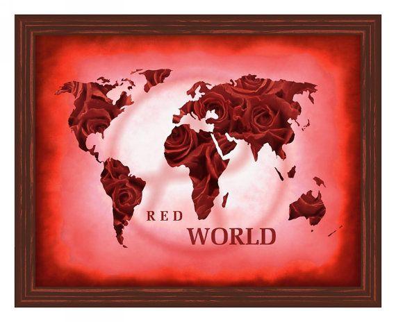 Red world mapred world map printworld map wall artworld map art red world mapred world map printworld map wall artworld map gumiabroncs Gallery