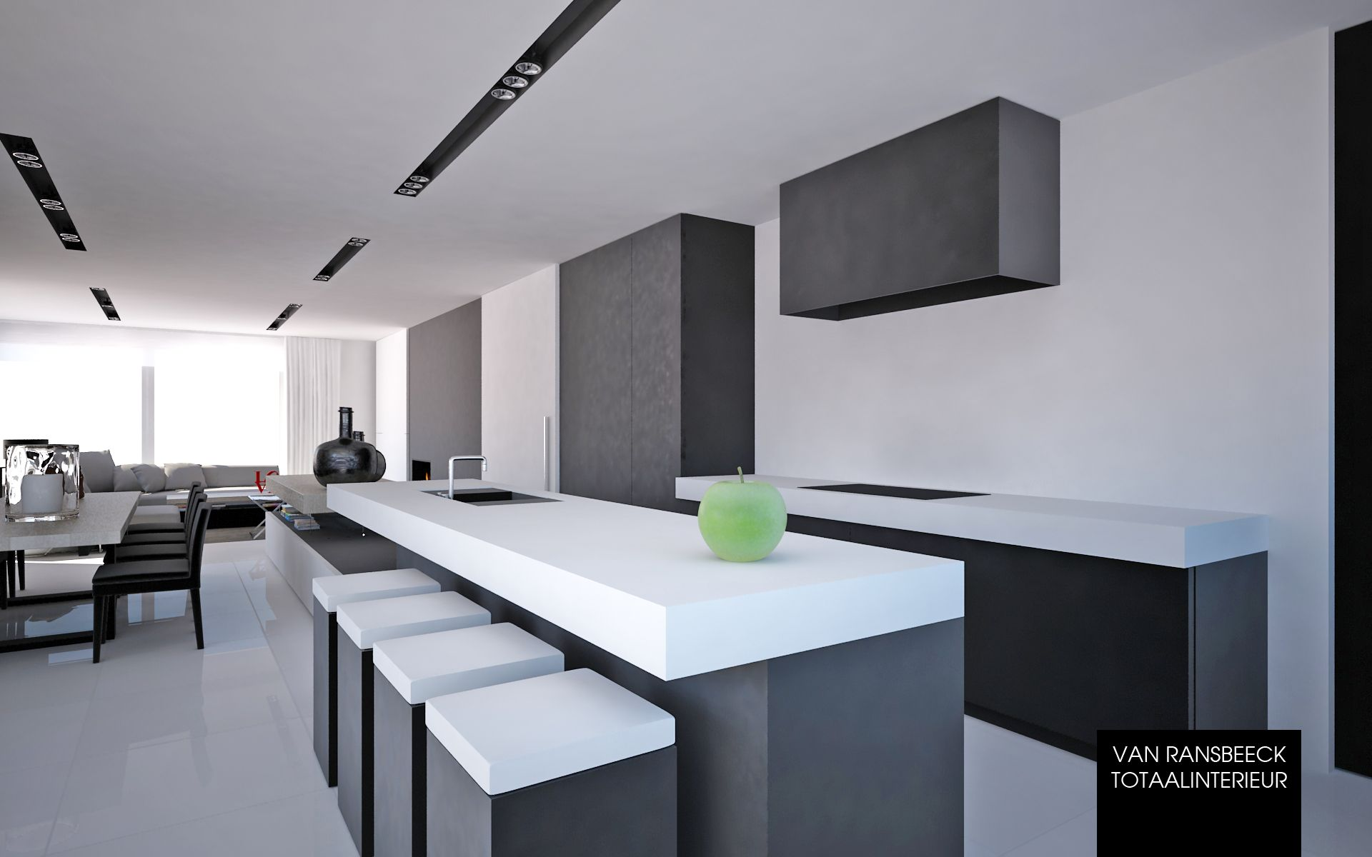 Project cra hedendaags interieur met doorlopend keukeneiland