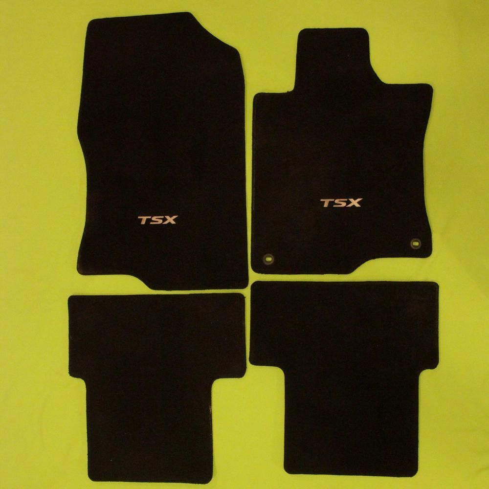 2009 Acura TSX Floor Mats Set Black Carpet Embroidered