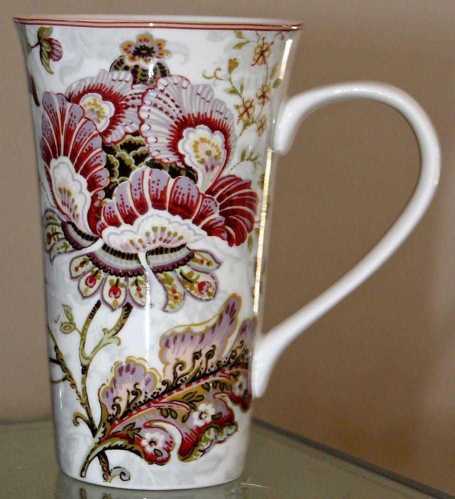 222 FIFTH GABRIELLE CREAM LATTEE MUG COFFEE NEW FLORAL 6 1/4TH ...