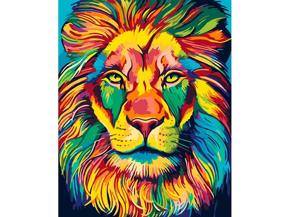 Картина по номерам «Красочный лев» PA113 Живопись по ...