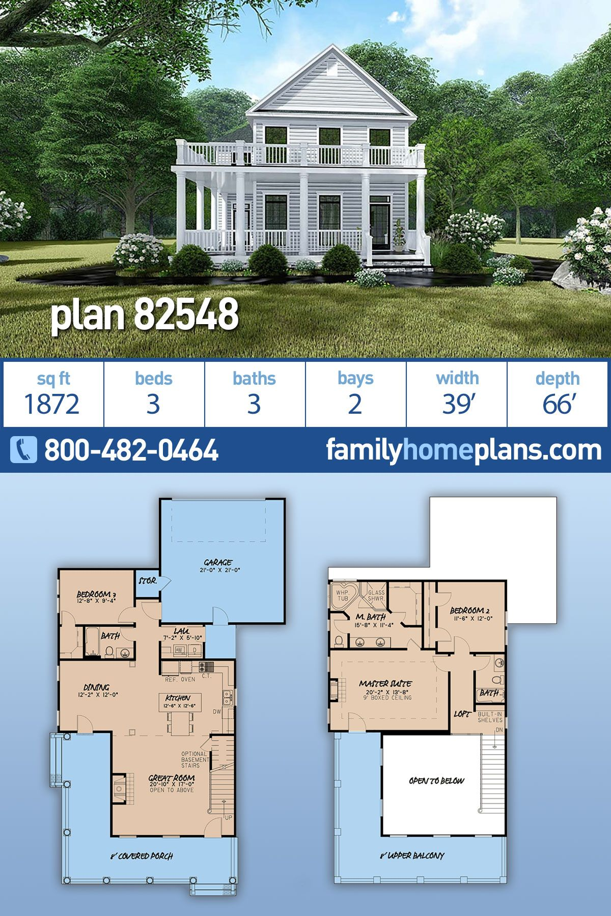Farmhouse Style House Plan 82548 With 3 Bed 3 Bath 2 Car Garage Farmhouse Style House Farmhouse Style House Plans Two Story House Design