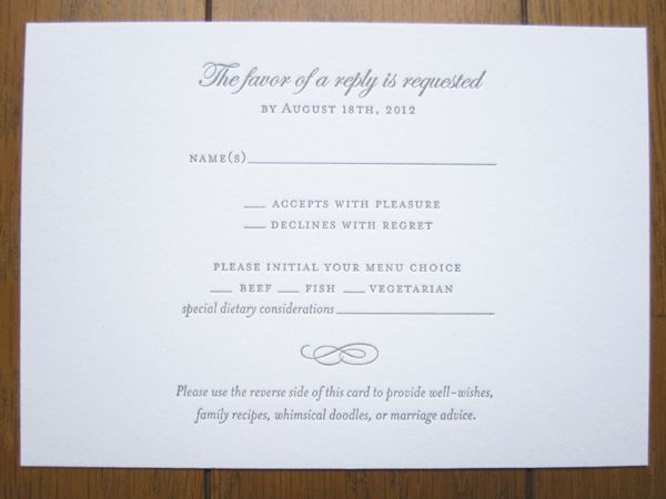menu rsvp cards - Google Search Wedding Invitation Inspiration - marriage invitation mail format