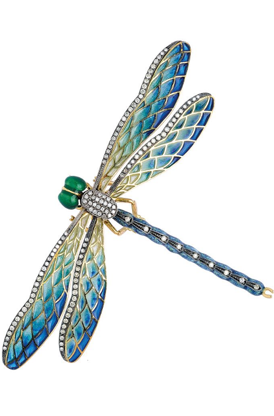 A Diamond And Enamel Dragonfly Brooch Designed As A Dragonfly With Polychrome Enamel Head And Body Plique A J Art Nouveau Jewelry Dragonfly Jewelry Dragonfly