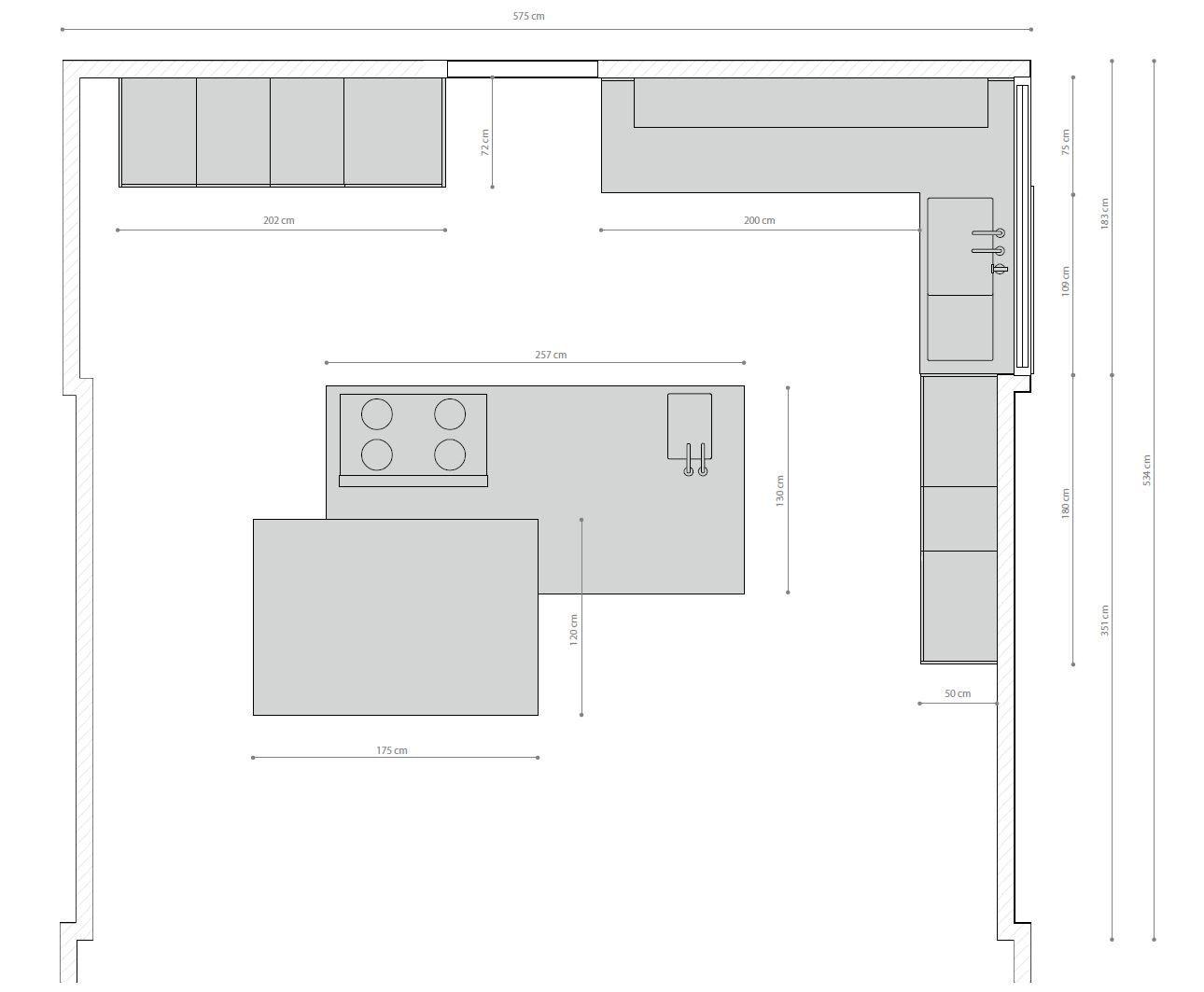 Dimensioni T30 / D90 | Cucina con isola | Cucine, Cucine ...
