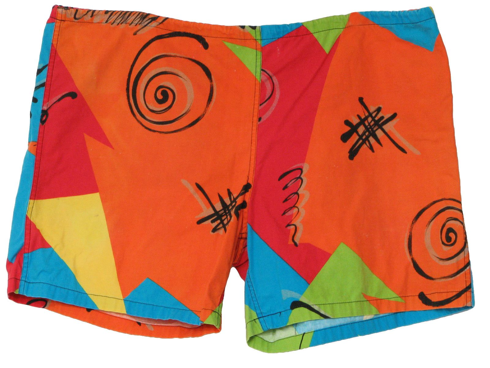 4e7846d60eac3 80s -Surf Line Original Jams- Mens orange, red, peacock blue, black,  yellow, acid green, metallic gold, wild color shapes with squiggles and  spirals print, ...