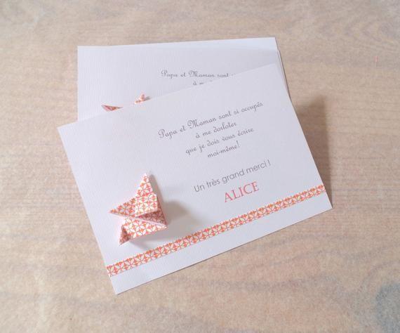 Carte de remerciement naissance – baptême renard en origami – faire-part / fait main / artisanal