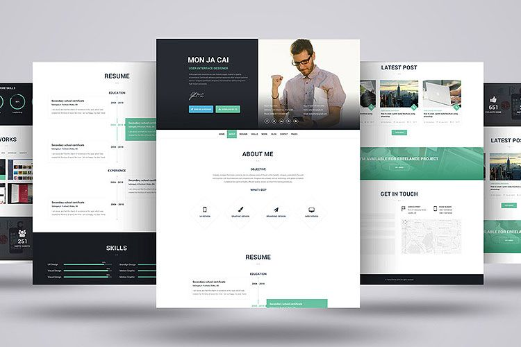 FREEBIE - I AM X PSD \ HTML WEB RESUME TEMPLATE Download on - Html Resume Template