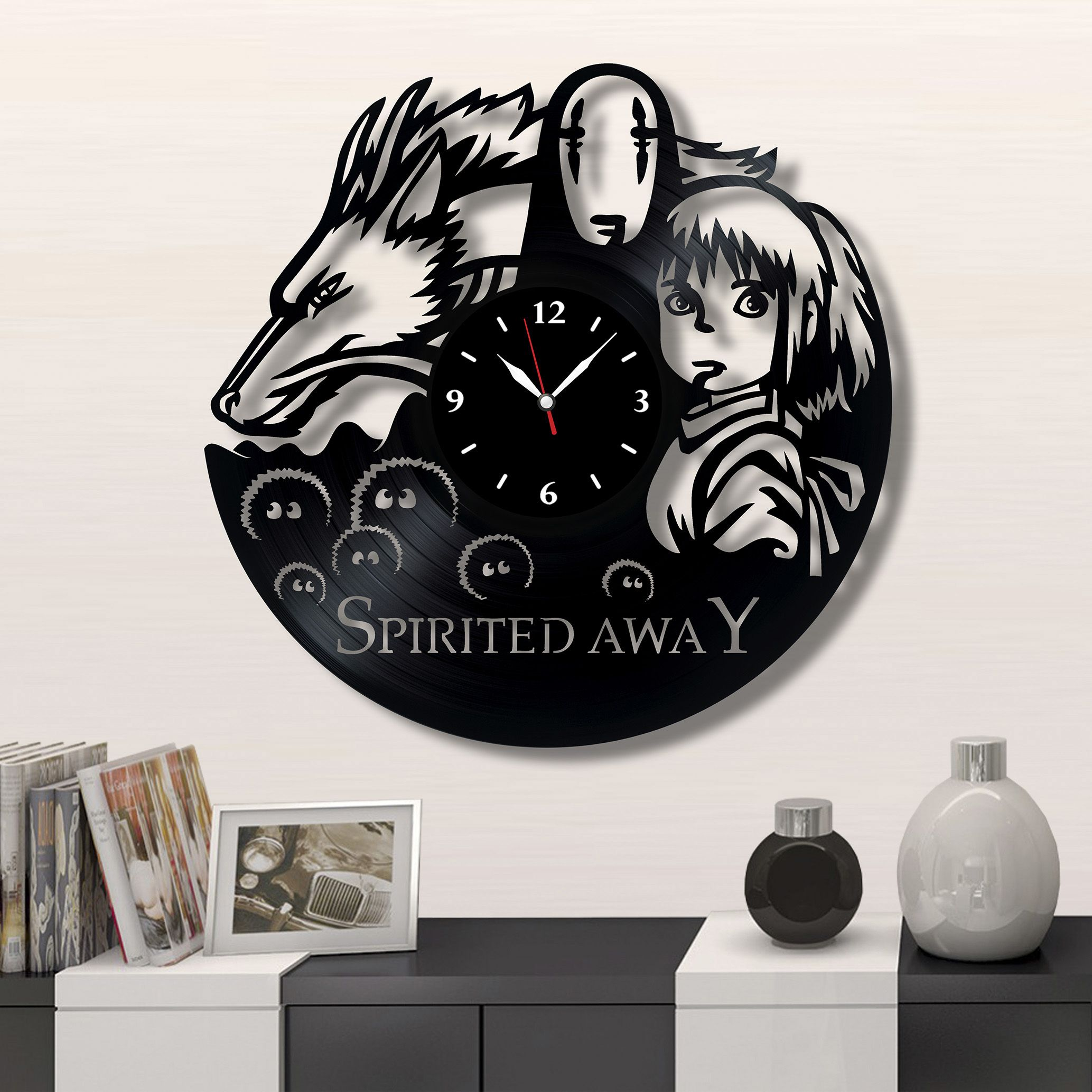 Spirited Away Vinyl Clock Record Wall Clock 12 The Best Gift For Decor Decor Homedecor Wallart Walldeco Vinyl Diy Crafts Record Crafts Vinyl Record Clock