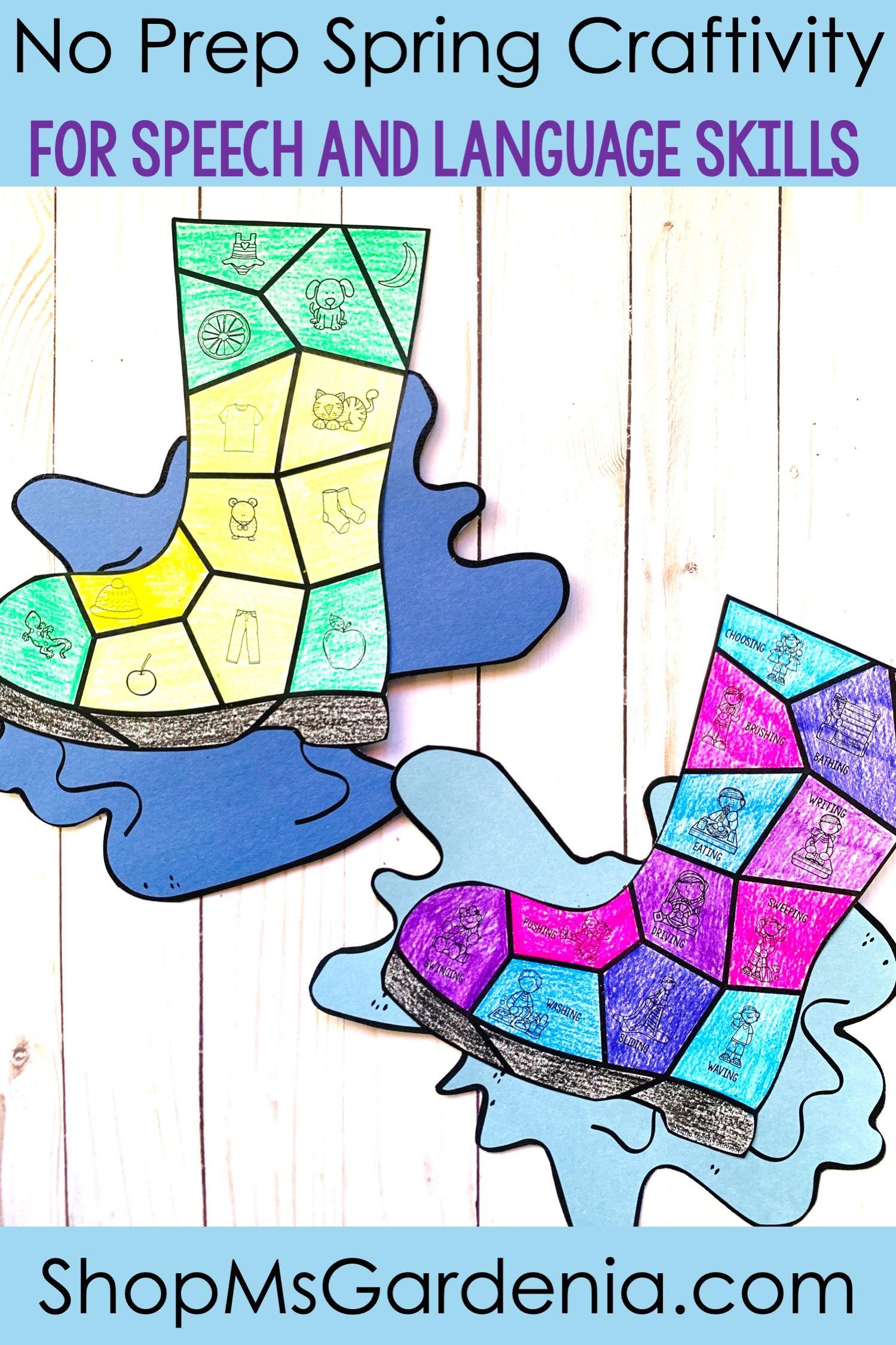 Spring Speech And Language Craftivity Splash Rain Boots