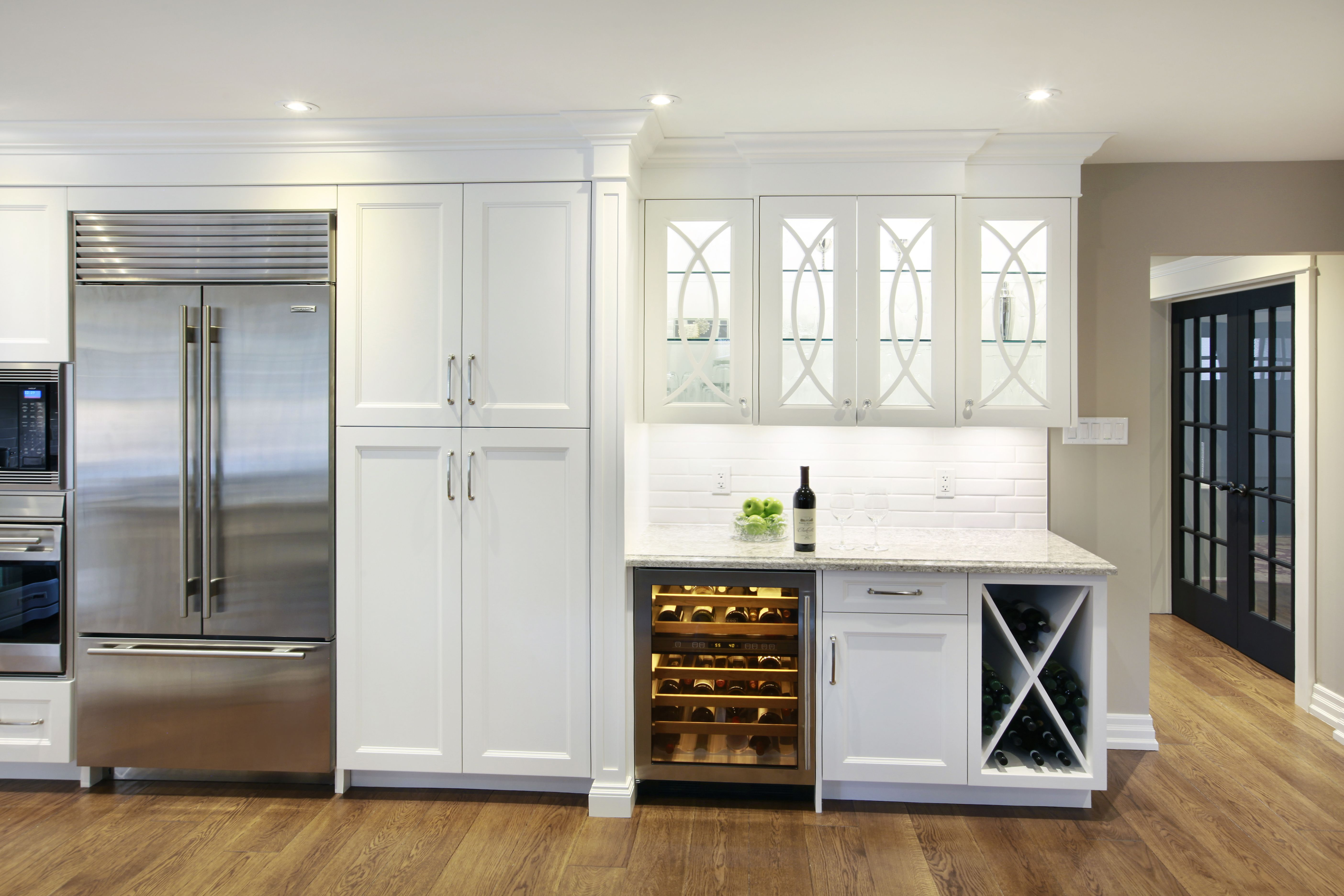 Stylized Kitchen In Oakville Home Decor Kitchen White Kitchen Design Wine Storage Cabinets