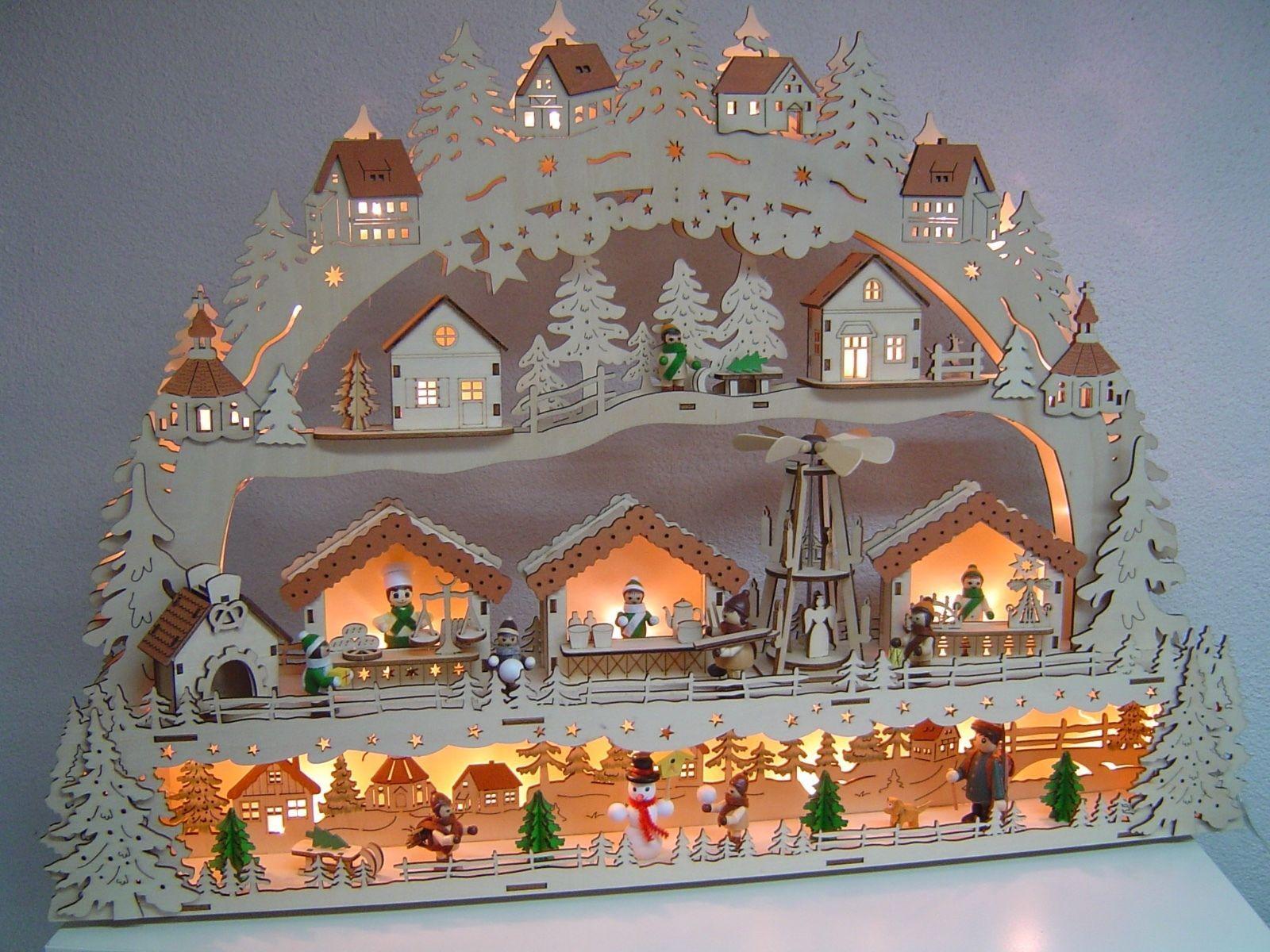 Weihnachtsbeleuchtung Dekoration Schwibbogen Lichterbogen Erzgebirge 72 4610