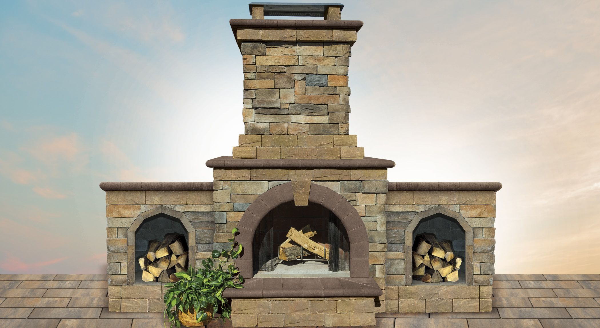 this cambridge pavingstones with armortec outdoor fireplace is