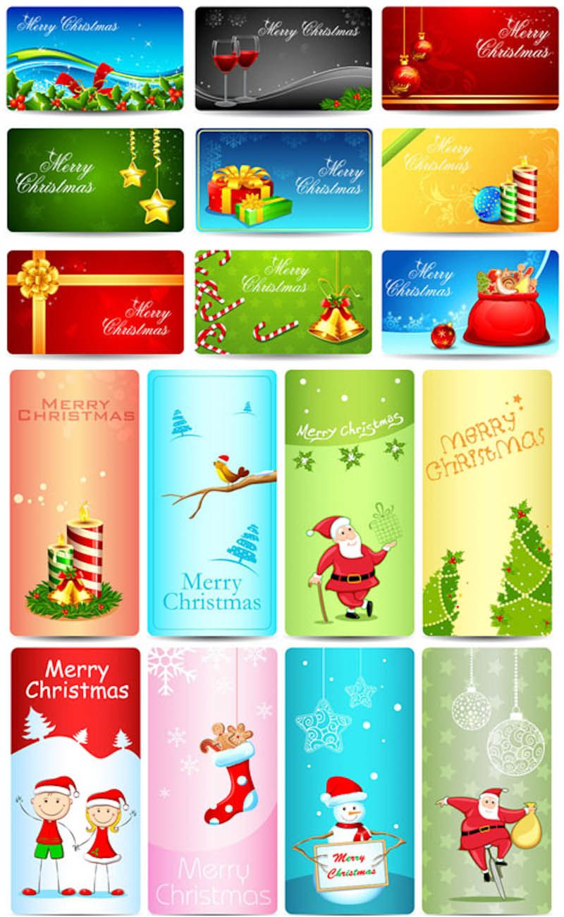 Christmas Giftcard Templates Vector