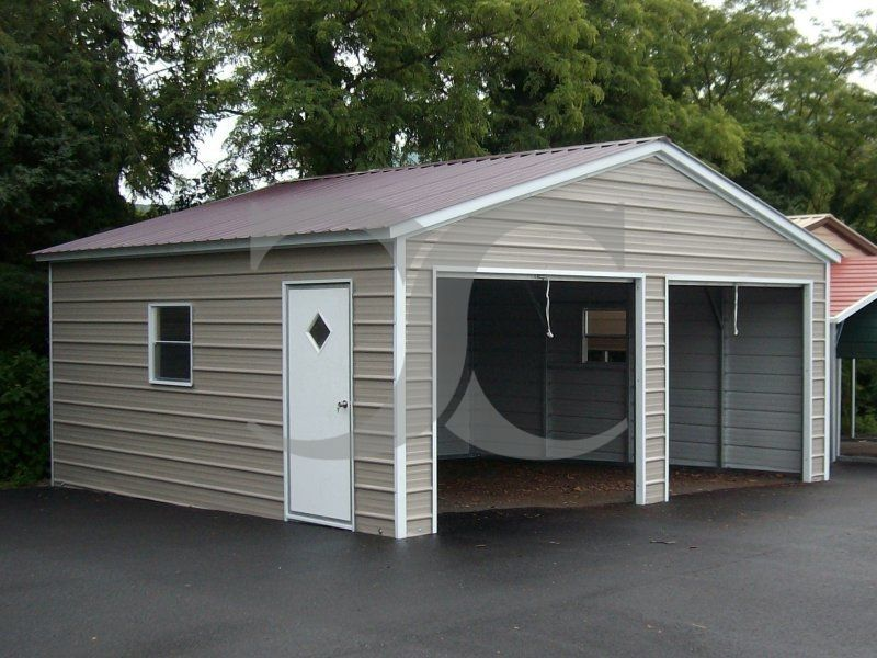 2Bay Garage Vertical Roof 18W x 21L x 7H Enclosed