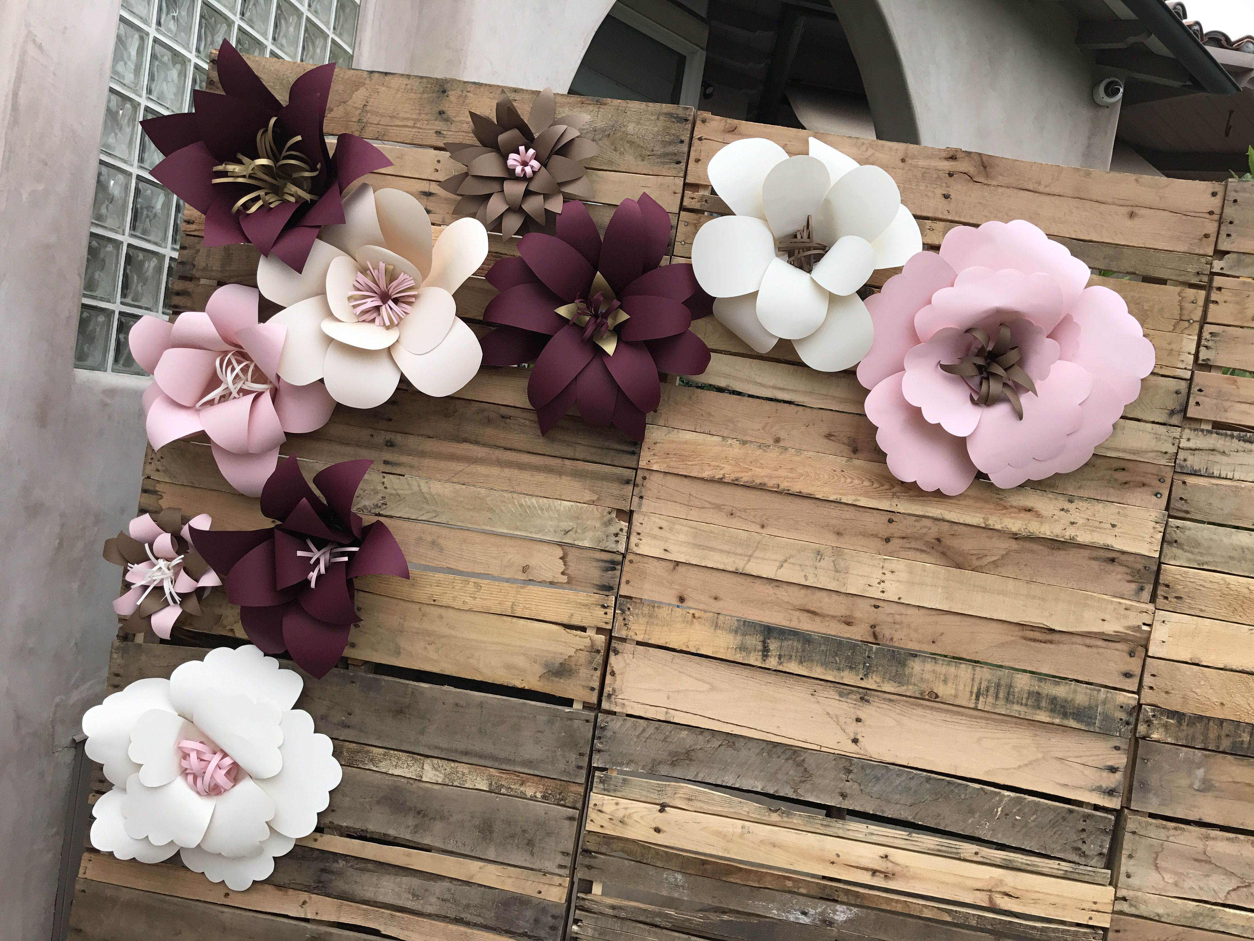 Paper Flowers On Pallet Wall Perfect For Bridal Shower Decor
